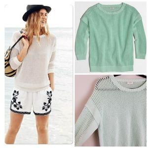 J. Crew Open Knit Beach Sweater in Mint • A20-XX